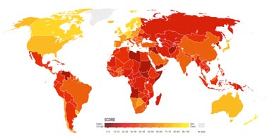 world map of corruption
