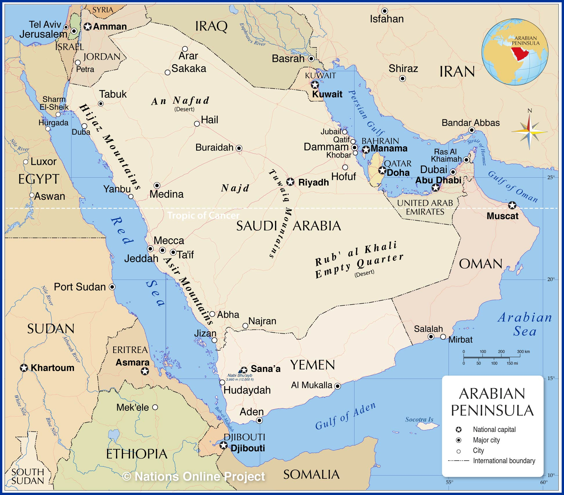 Image of: Political Map Of The Arabian Peninsula Nations Online Project