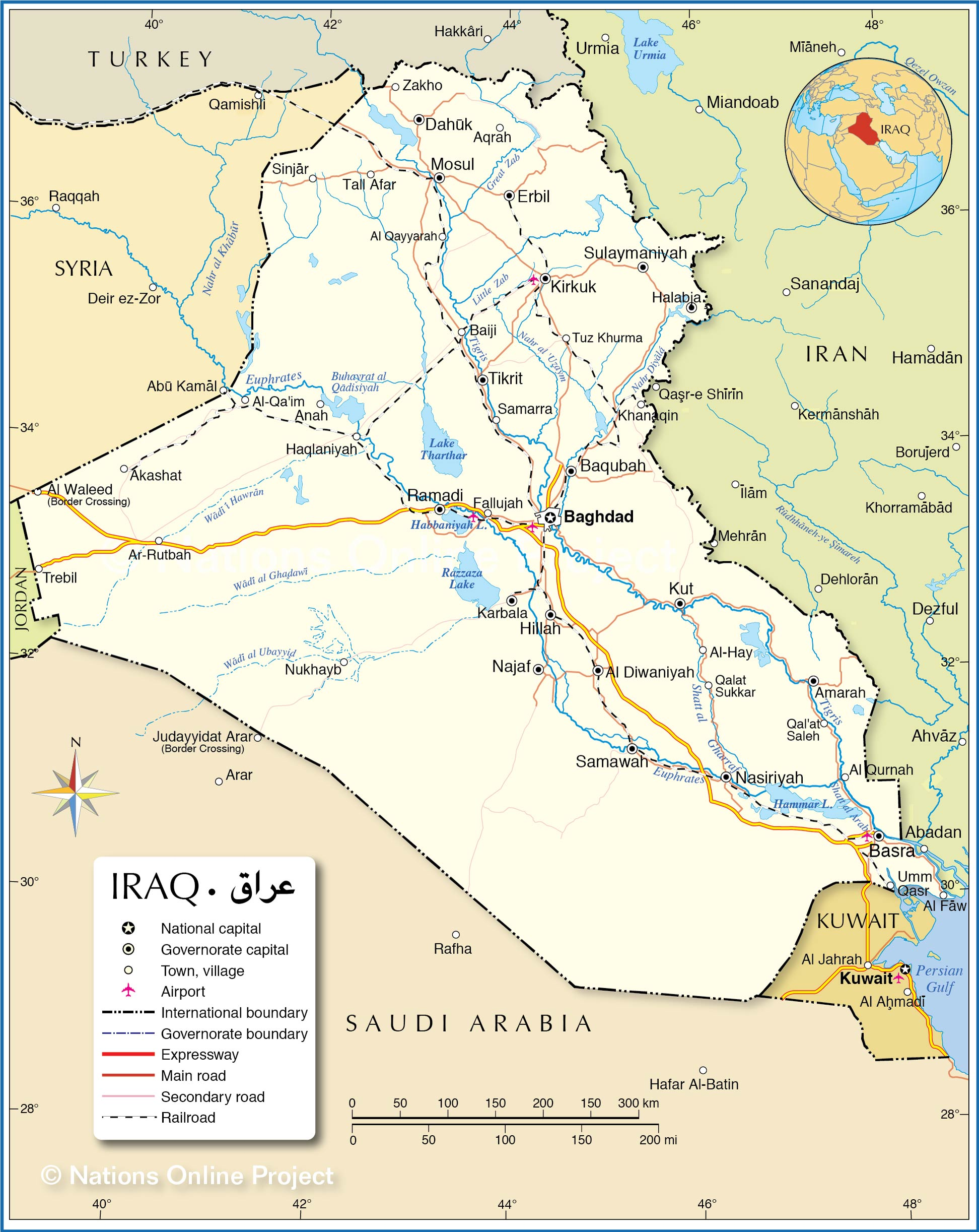 Political Map Of Iraq Nations Online Project