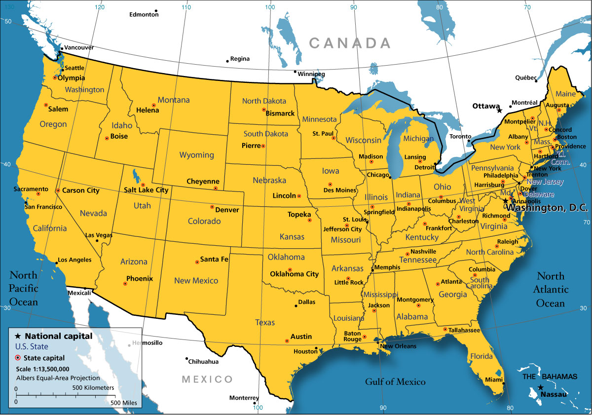 Us Map Of Cities United States Map   Nations Online Project