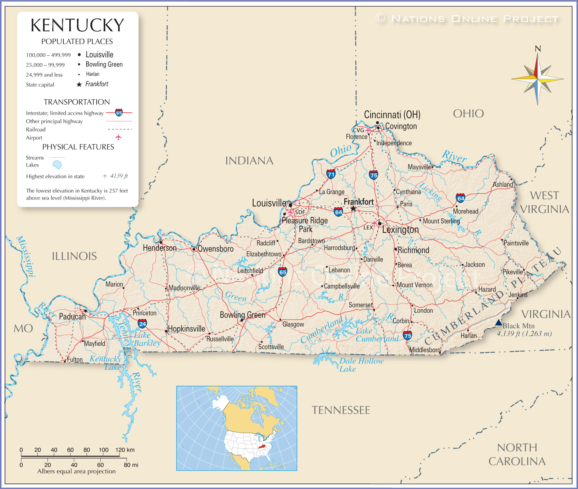 Reference Map of Kentucky (KY)