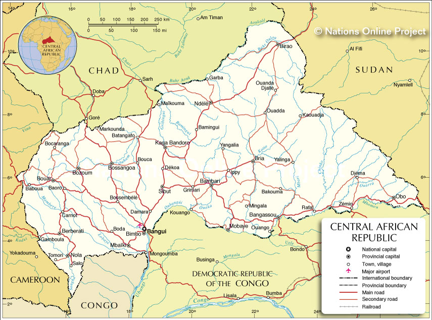 Central Africa Political Map Political Map of Central African Republic   Nations Online Project