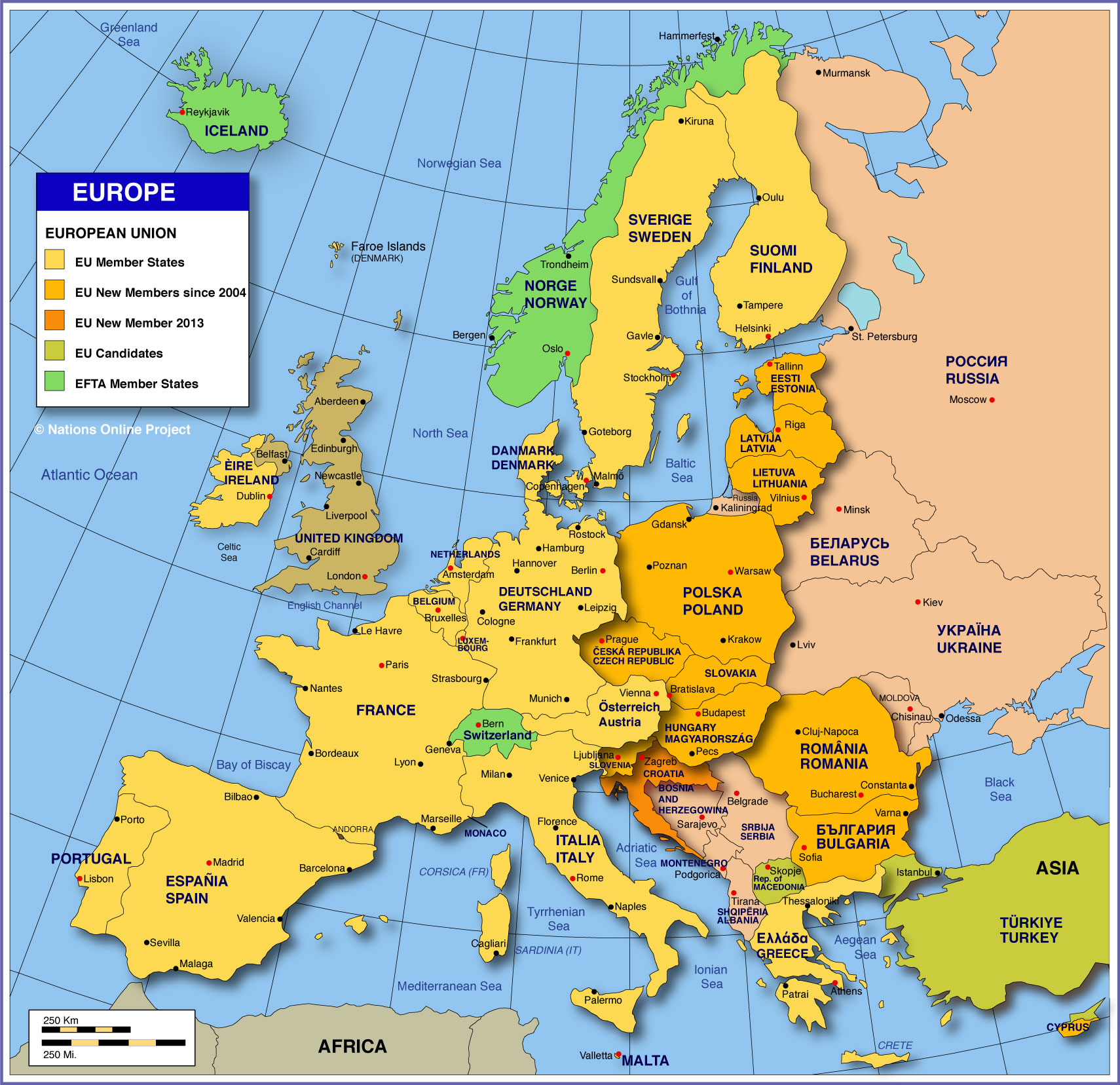 country map of europe Map of Europe   Member States of the EU   Nations Online Project