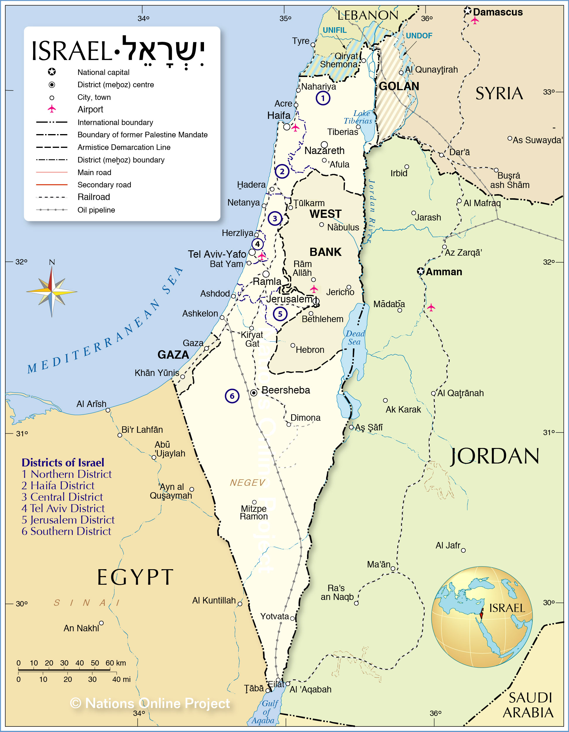 Picture of: Political Map Of Israel Nations Online Project